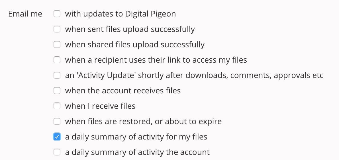 Email summary