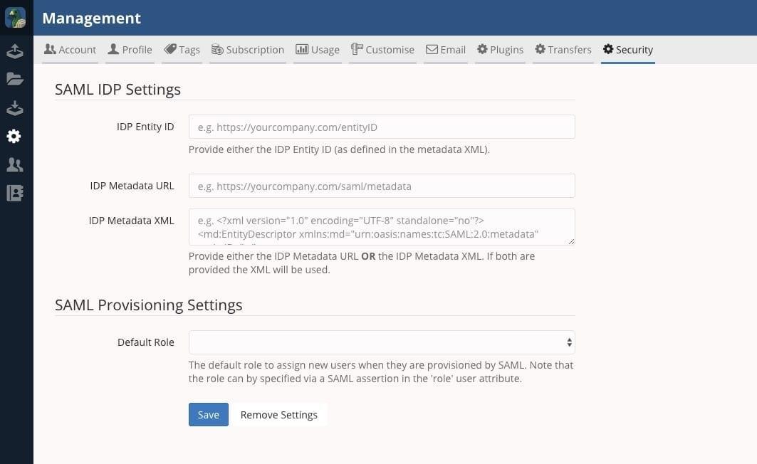 SAML settings