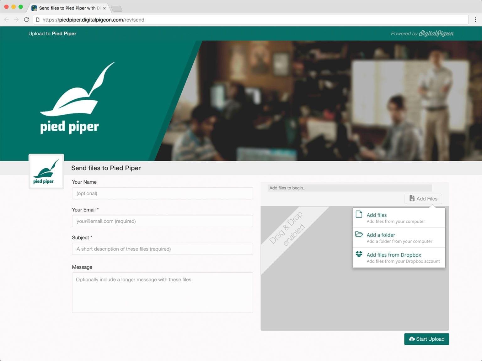 Design a custom branded upload page